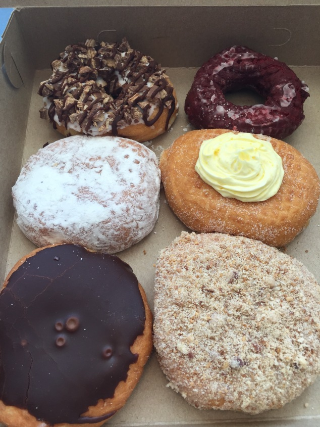 Boston Cream, Apple Crumb (bottom), Bavarian Cream (middle), Red Velvet (top)